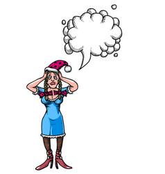 stressed woman wearing santa hat-100 vector image