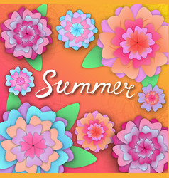 Summer hand lettering on the banner with paper vector