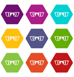 sunglasses icon set color hexahedron vector image