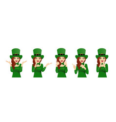 surprised st patrick day woman vector image