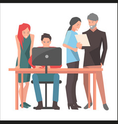 Teamwork and startup discussions vector