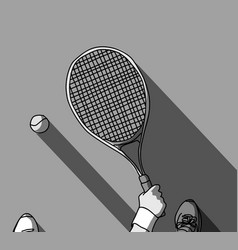 tennis grayscale feet and hand with racket top vector image