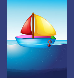 toy boat floating on water vector image