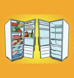 Two refrigerators one with food and the other vector