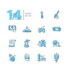 video gaming - line icons set vector image