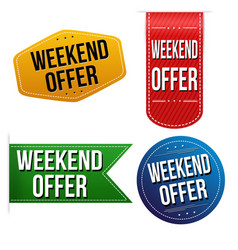 weekend offer sticker or label set vector image