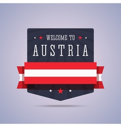 Welcome to Austria badge with national flag vector