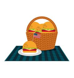 wicker basket burgers and blanket american flag vector image