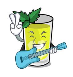 With guitar mint julep mascot cartoon vector