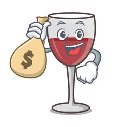 With money bag wine character cartoon style vector