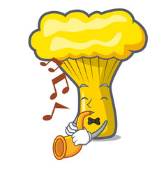 With trumpet chanterelle mushroom mascot cartoon vector