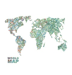 World map colored lines Global Internet vector image