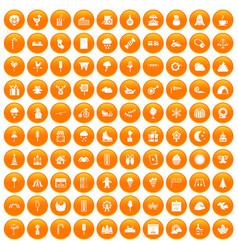 100 childrens parties icons set orange vector image
