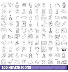 100 health icons set outline style vector image vector image