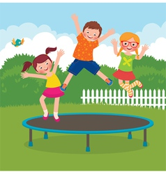 Children jumping on the trampoline vector image vector image