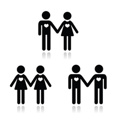 Hetero gay and lesbian love couples icons set vector