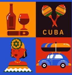 Icon set of cuba havana vector