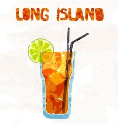 Long island ice tea coctail vector image