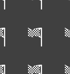 Racing flag icon sign seamless pattern on a gray vector