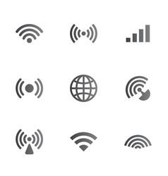 wireless network symbol object set vector image