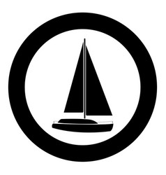 yacht icon black color in circle vector image vector image