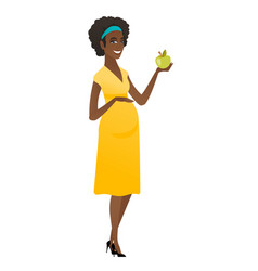african-american pregnant woman holding apple vector image vector image