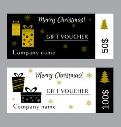 christmas and new year gift voucher certificate vector image