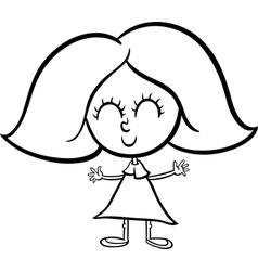 cute girl cartoon coloring page vector image vector image
