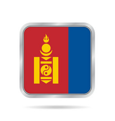 Flag of mongolia metallic gray square button vector