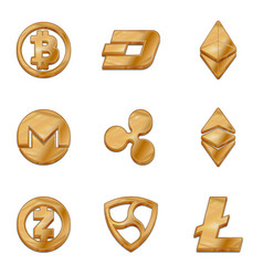 golden cryptocurrency trendy 3d style icon vector image vector image