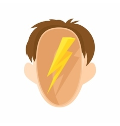 Head with a lightning icon cartoon style vector image