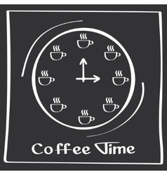 It s coffee time Hand drawing poster with phrase vector image