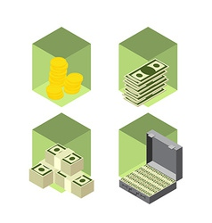 Money icons isometric style vector image vector image