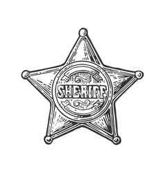 Sheriff star Vintage black engraving vector image vector image