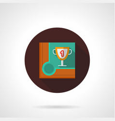 snooker championship flat brown round icon vector image