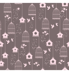 vintage bird house seamless vector image vector image