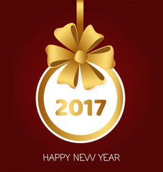 2017 happy new year round banner with golden bow vector