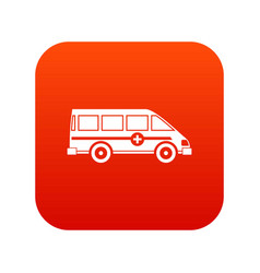 ambulance emergency van icon digital red vector image
