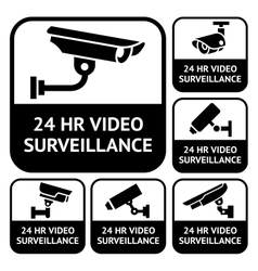Cctv labels set symbols video surveillance vector