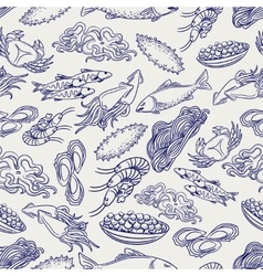 Healthy seafood ball pen seamless pattern vector image