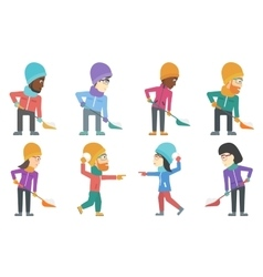set of people characters in winter vector image vector image
