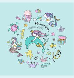 under the sea - little mermaid vector image