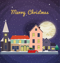 Christmas background with fairy tale houses winter vector