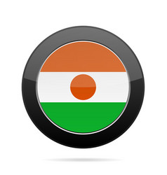 flag of niger shiny black round button vector image vector image