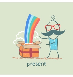 Man received a gift with a rainbow vector