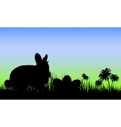 Silhouette of a Bunny with Easter Eggs vector image vector image