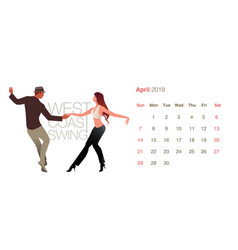 2019 dance calendar april young couple dancing vector