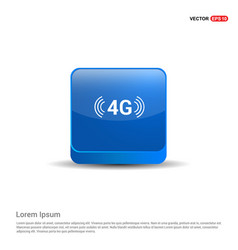 4g connection icon - 3d blue button vector
