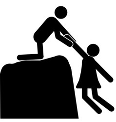 a man pulls a woman off the cliff vector image