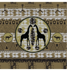 African background with grunge frame vector image